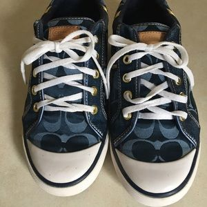 Coach Barrett blue & gold logo sneakers 8 1/2 b